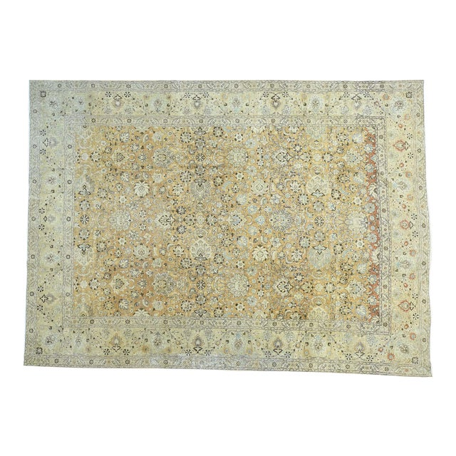 1920s Vintage Hand-Knotted Persian Tabriz Rug - 9′6″ × 13′1″ For Sale