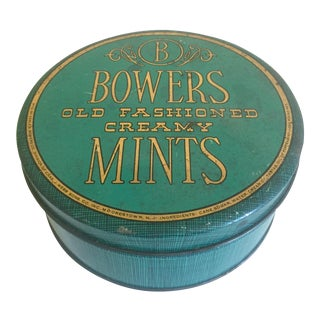 Vintage Mid-Century Bower's Old Fashioned Creamy Mints Metal Tin For Sale