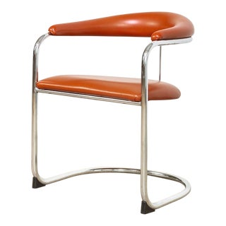 Vintage Mid Century Modern Bauhaus Anton Lorenz Burnt Orange Cantilever Arm Chair For Sale