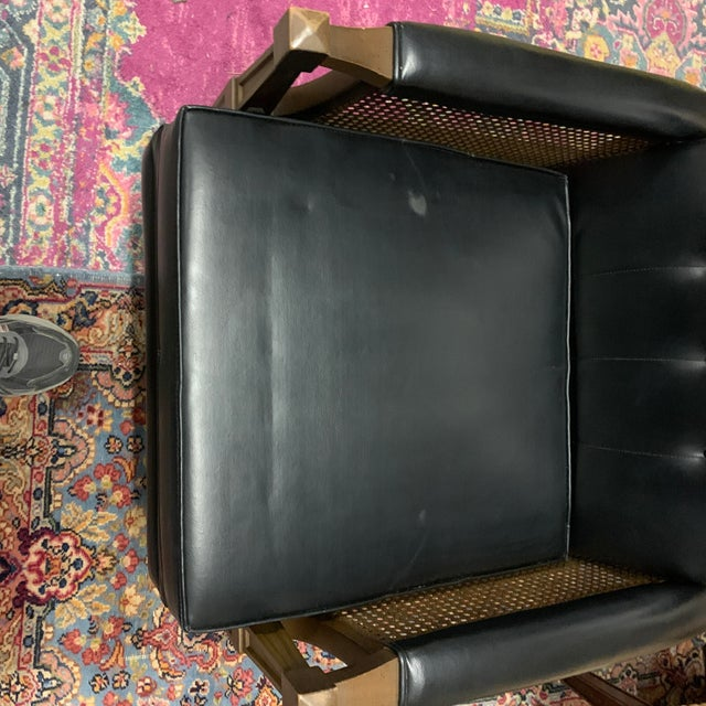 1970s Italian Provincial Burris Black Naugahyde and Caned Arm Recliner For Sale In Charleston - Image 6 of 12