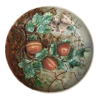 Large 19th Century Majolica Apricots Wall Platter Fives Lille For Sale