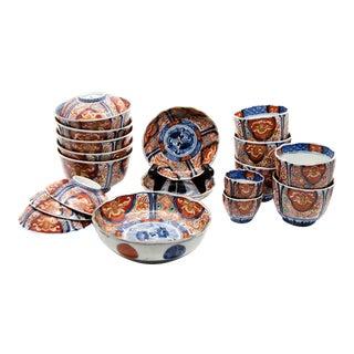 Antique Imari Porcelain Dinner Bowls Set - Set of 19 For Sale