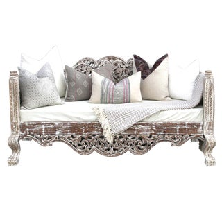 Whitewash Foliate Carved Indian Sofa