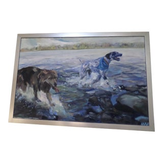 Dogs on Lake Noxamixon, Oil on Canvas