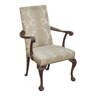 Chippendale Style Vintage Ball & Claw Mahogany Arm Chair