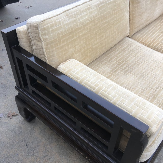 1960s Lamont Ming Chinoiserie Solid Wood Loveseat Sofa** For Sale - Image 5 of 7