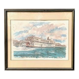 Paul N. Norton Watercolor on Paper - Steamboat Delta Queen For Sale