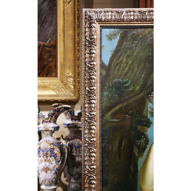 Canvas Large Mid-Century French Allegory Oil on Canvas Painting in Carved Frame For Sale - Image 7 of 10