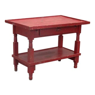 20th Century Primitive Red Painted Serving Table For Sale