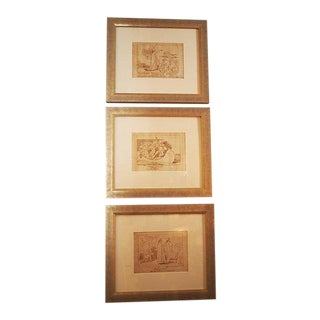 Early 19th Century Dante's Divine Comedy Pen and Ink Drawings After Flaxman, Framed - Set of 3 For Sale