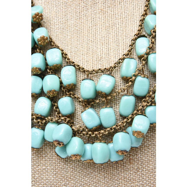 Gold Miriam Haskell Turquoise Glass Bead and Metal Bib Necklace Vintage For Sale - Image 8 of 9