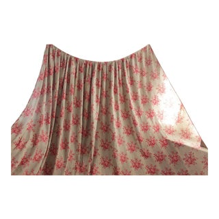 Antique 1850s French Floral Pink Gray Grey Cotton Passementerie Bed Curtain Panel For Sale