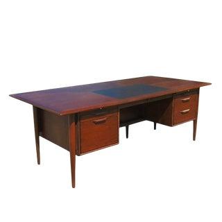 Vintage Midcentury Two-Pedestal Rosewood Desk For Sale