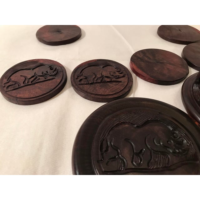 20th Century Safari Wooden Carved Rhino Coaster Set - 8 Pieces For Sale - Image 11 of 13