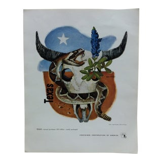 """1960s Vintage """"Texas"""" Container Corporation of America Color Advertising Print For Sale"""