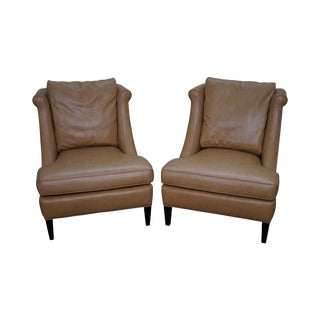 Jessica Charles Custom Faux Ostrich Lounge Chairs - A Pair For Sale