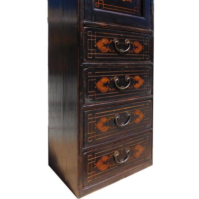 Elm Chinese Vintage Golden Graphic Dresser Cabinet For Sale - Image 7 of 8