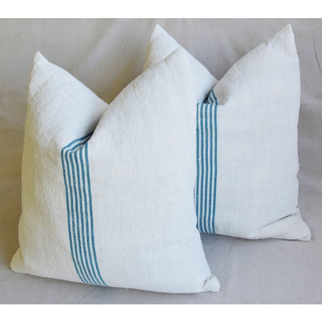 """Aqua Striped French Homespun Grain Sack Textile Feather/Down Pillows 21"""" Square - Pair For Sale - Image 9 of 13"""