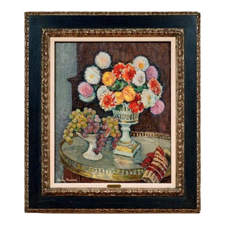 """""""Still Life With a Bouquet of Dahlias and a Bowl of Grapes on a Table"""" Jacques Martin-Ferrières (French, 1893-1972) Oil Painting on CanvasSigned l.l For Sale"""
