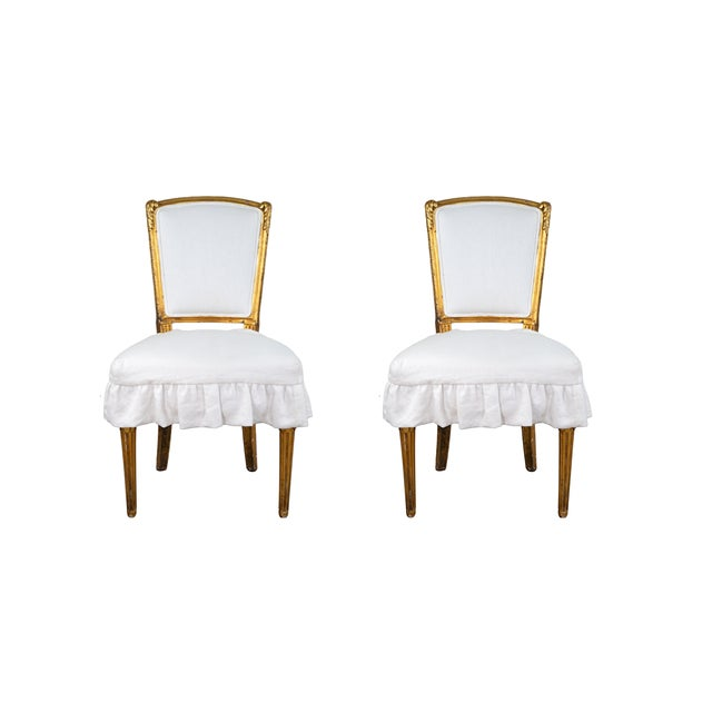 Antique French Louis XV Style Gilded Accent Chairs- a Pair For Sale In Wichita - Image 6 of 7