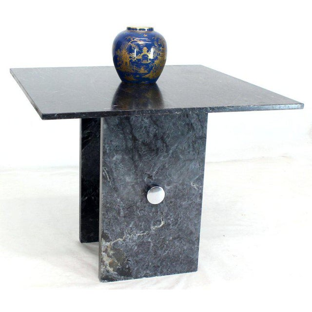1970s Black Square Marble Top Small Conference Dining Game Cafe Table For Sale - Image 5 of 10