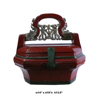 Chinese Distressed Red Color Golden Carving Handle Wood Basket Preview