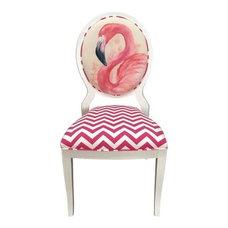 Vintage Oval Back Hand Painted Flamingo Chair For Sale