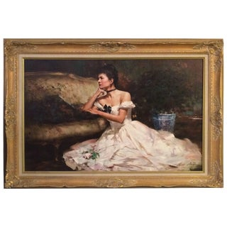 Breathtaking an He Original Oil Painting in Gilded Frame For Sale