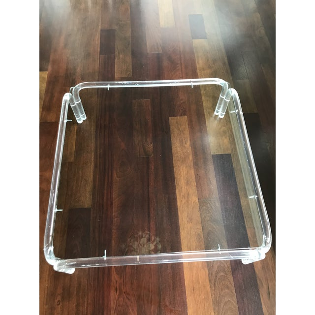 Vintage mid century modern lucite and glass dorothy thorpe style square coffee table. Amazing vintage find. Rare lucite...