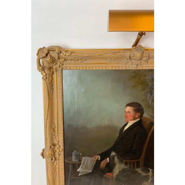 19th Century Portrait of a Distinguished Gentleman with Dog Oil Painting, Framed For Sale - Image 4 of 13
