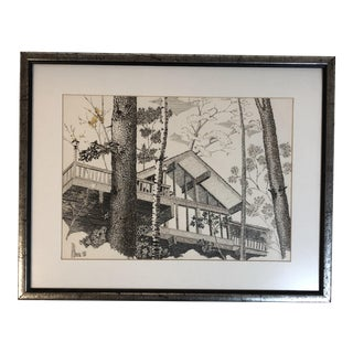 1980s l.M. Harris Original Ink Architectural Drawing For Sale