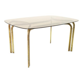 Milo Baughman Style Mid Century Brass and Glass Dining Table For Sale
