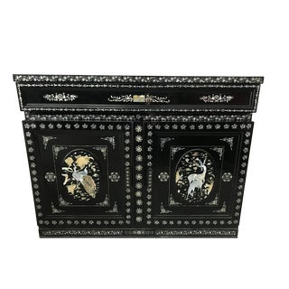 Chinoiserie Asian Inlaid Enamel Sideboard Cabinet Bar