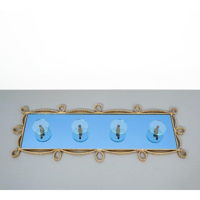 Pier Luigi Colli Pierluigi Colli Coatrack Wall Wardrobe Iron Blue Glass Mirror, Italy 1950 For Sale - Image 4 of 10