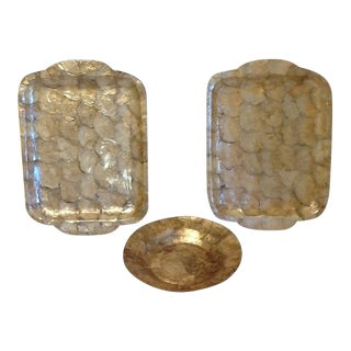 Boho Chic Capiz Shell Serving Trays & Bowl - Set of 3 For Sale