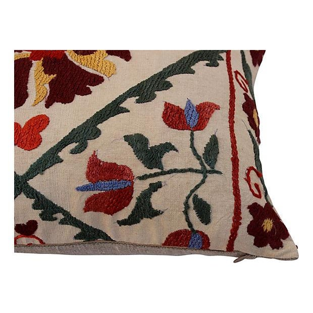 Embroidered Suzani Lumbar Pillow - Image 4 of 4