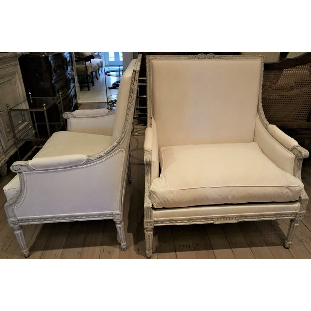 Pair of Marquis 19th C Louis XVI Bergeres For Sale - Image 12 of 12