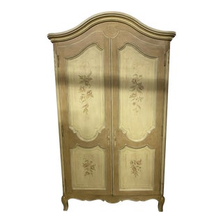 Julia Gray Hand Painted Armoire For Sale
