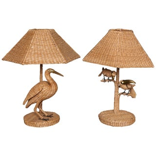 "Rare Mario Lopez Torres ""Egret"" and Parrot Toucan Lamps For Sale"