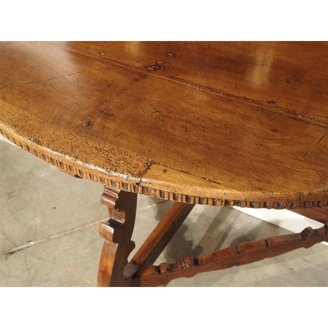 18th Century Italian Walnut Wood Demi Lune Console Table For Sale - Image 12 of 13