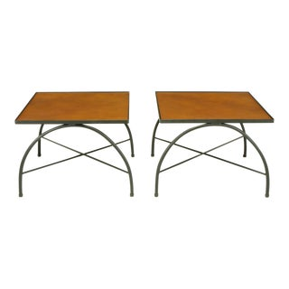 Black Lacquered Wrought Iron & Leather X-Base End Tables For Sale