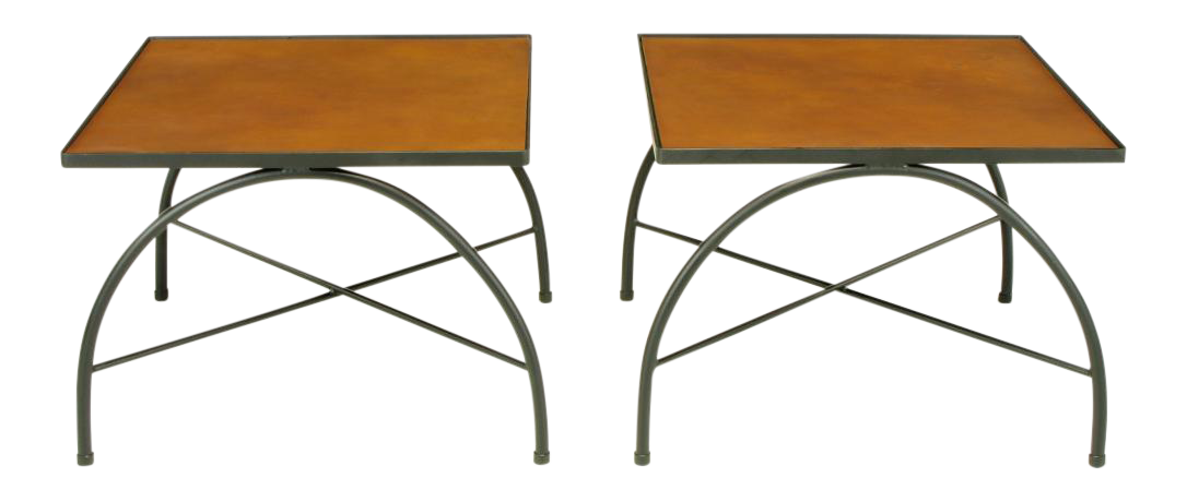 Black Lacquered Wrought Iron U0026 Leather X Base End Tables For Sale