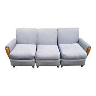 Mid Century Modern Heywood Wakefield 3 Piece Modular Sectional Sofa Newly Upholstered For Sale
