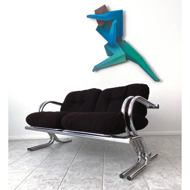 Mid Century Modern Jerry Johnson Chrome Loveseat For Sale - Image 13 of 13