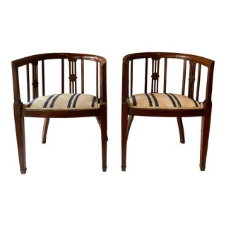 Edwardian Tub Armchairs - A Pair For Sale