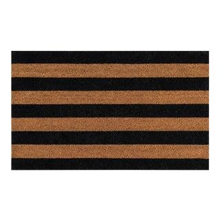 Modern Erin Gates by Momeni Park Stripe Black Hand Woven Natural Coir Doormat- 1′6″ × 2′6″ For Sale