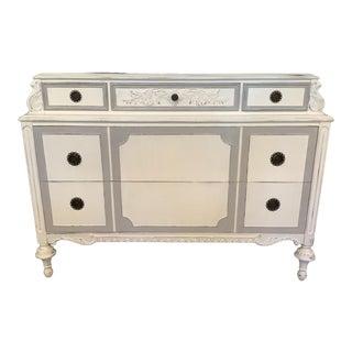 1930s Dresser White and Paris Gray Antique French Dresser Original Hardware For Sale
