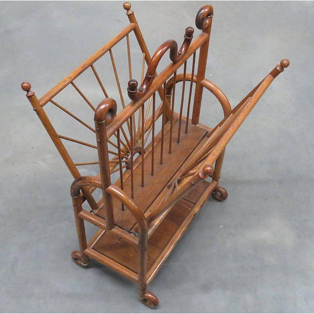 Traditional Victorian Oak Magazine Rack For Sale - Image 3 of 10