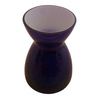 Mid Century Cased Glass Vase in Blue