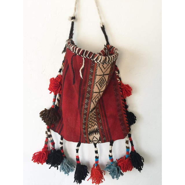 Vintage Ethnic Tasseled Woven Bag Wall Hanging For Sale In Los Angeles - Image 6 of 7
